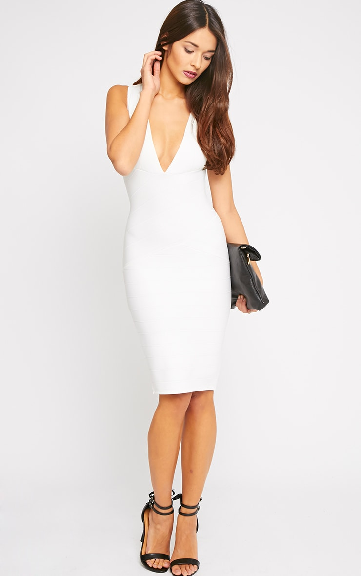 Frankie Cream Deep V Bandage Midi Dress 4