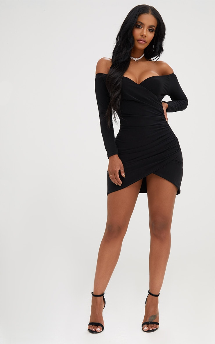 Shape Black Ruched Bardot Bodycon Dress 4
