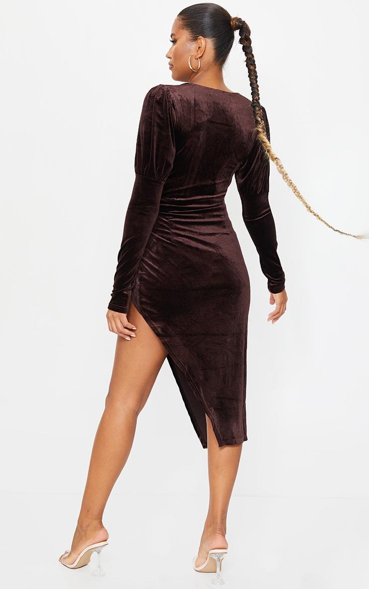 Chocolate Velvet V Bar Puff Sleeve Midi Dress 2