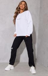 PRETTYLITTLETHING White Embroidered Oversized Sweatshirt 3