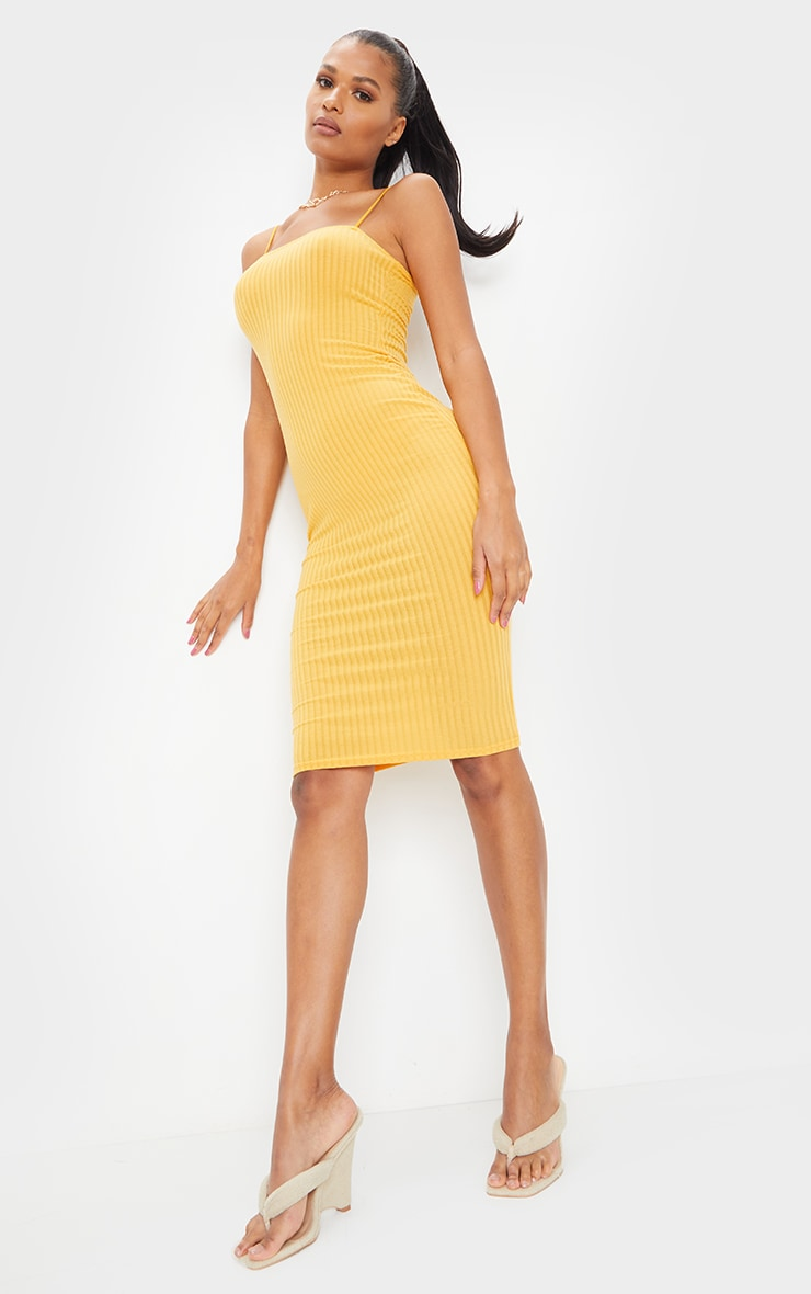 Mustard Ribbed Strappy Midi Dress 3