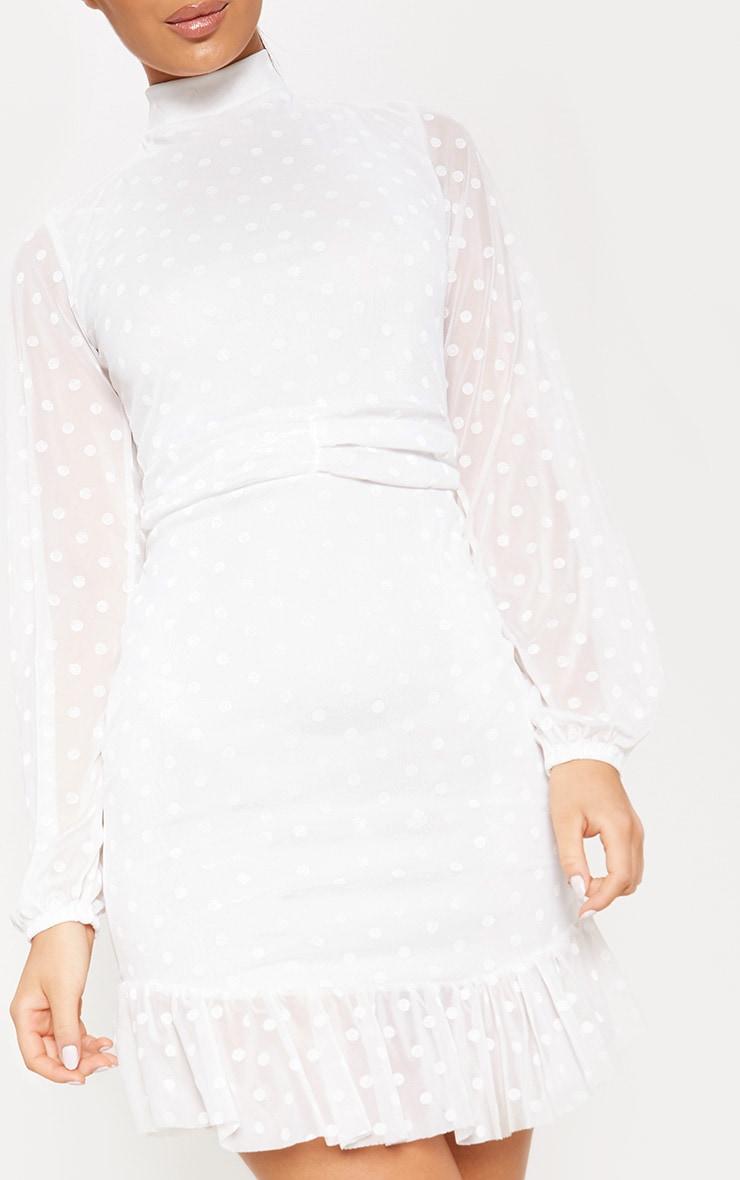 White Mesh Long Sleeve Ruffle Hem Bodycon Dress 5