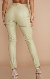 Pale Olive Faux Leather Contrast Panels Skinny Trousers 3