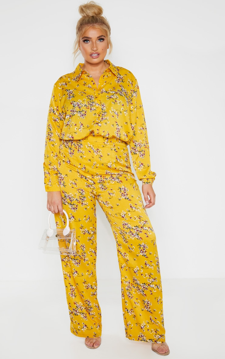 Plus Yellow Floral Oversized Shirt  4