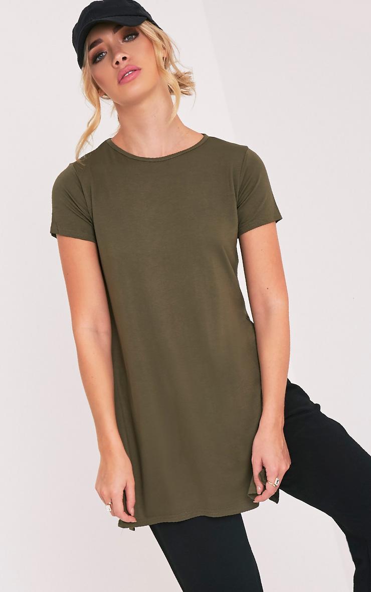 Tee-shirt basique fendu sur le côté kaki 4