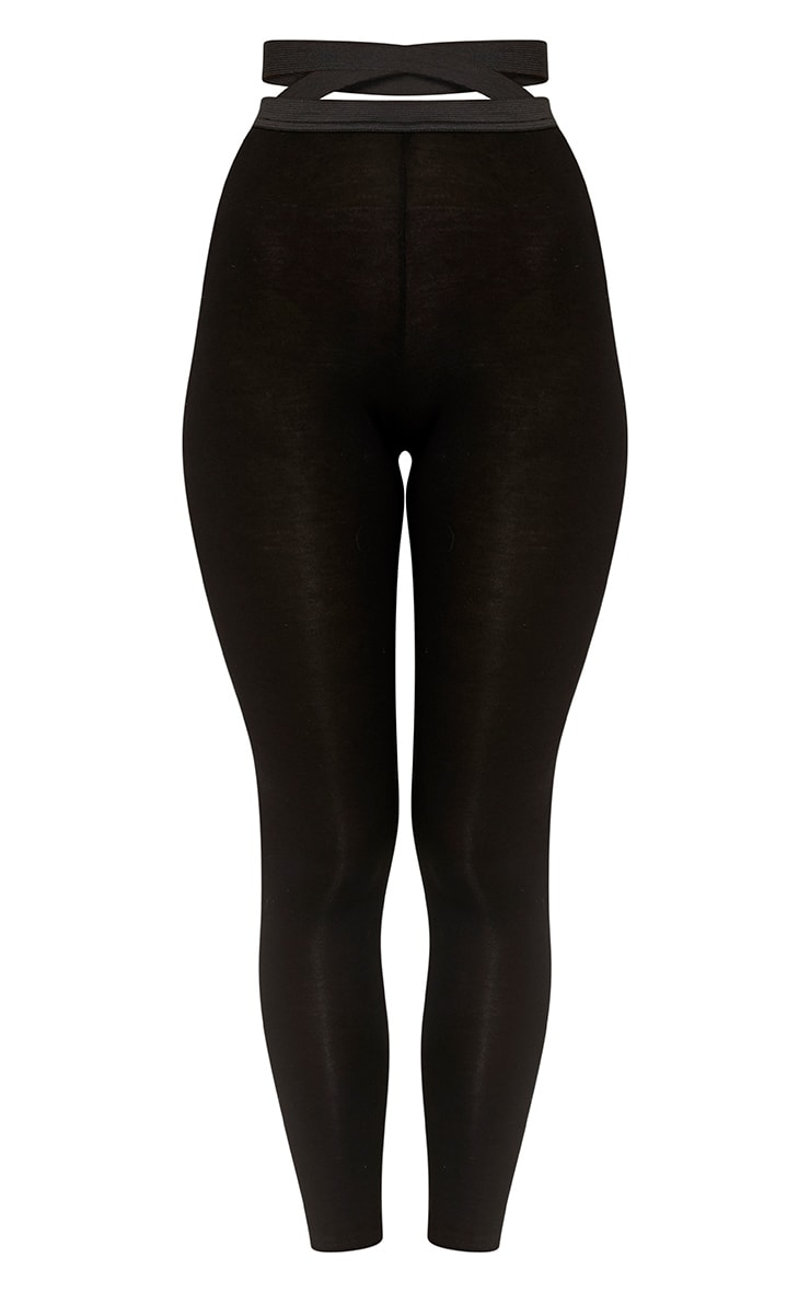 Favianna Black Strappy Waist Leggings 3
