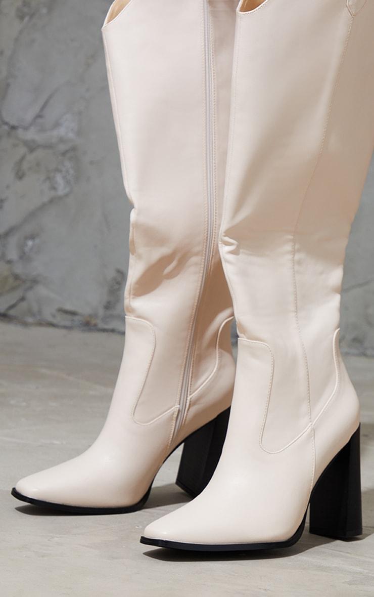 Cream PU Square Toe Curved Edge Knee High Boots 3