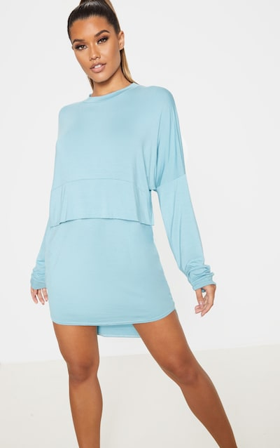 Dusty Turquoise Long Sleeve Jersey Layer T Shirt Dress