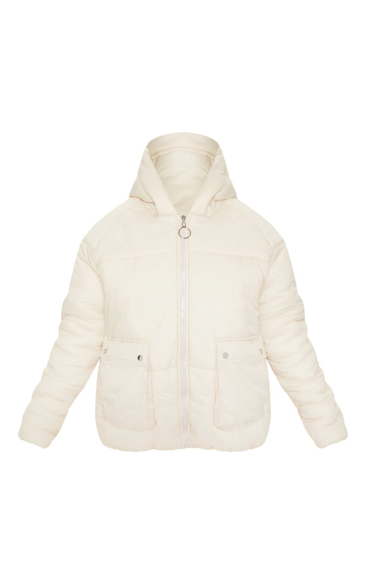 Cream Pocket Front Hooded Puffer 3