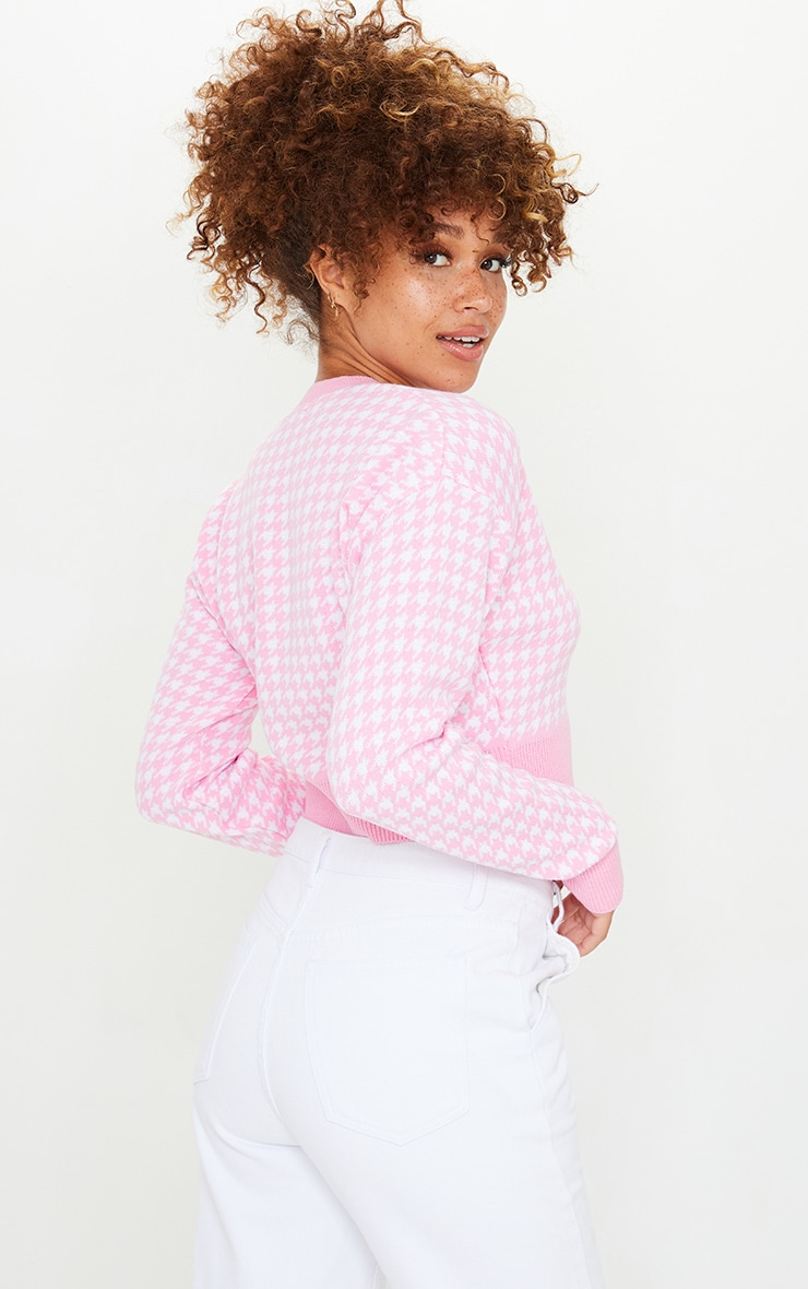 Pink Dogstooth Knitted Crop Cardigan 2