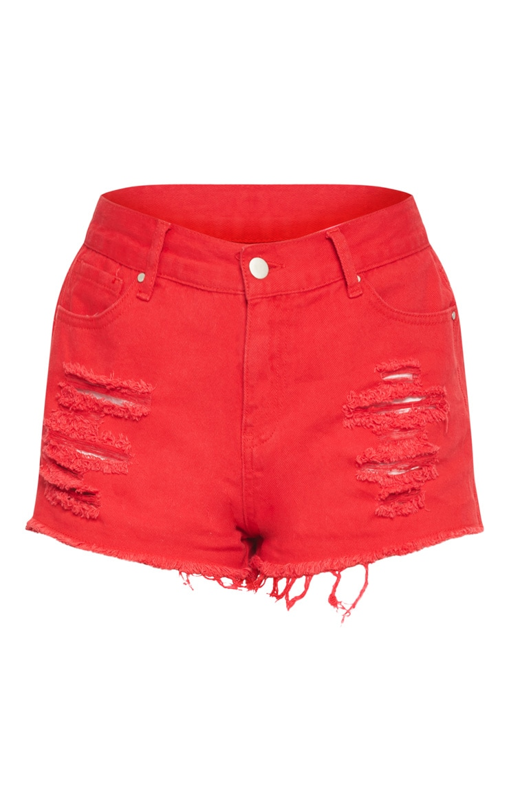 Red Ripped Denim Hot Pants  3