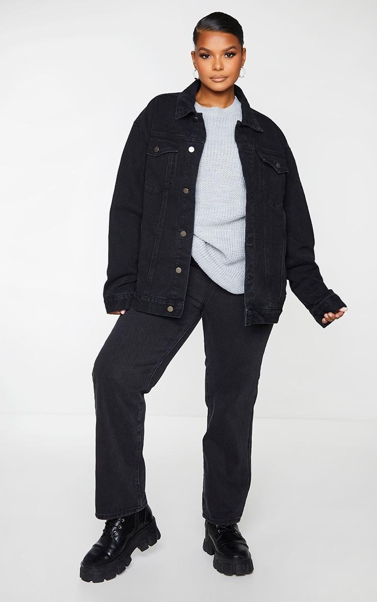 PRETTYLITTLETHING Plus Black Oversized Boyfriend Denim Jacket 1