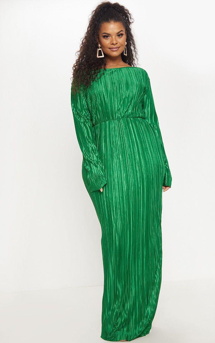 Plus Emerald Green Pleated Open Back Maxi Dress