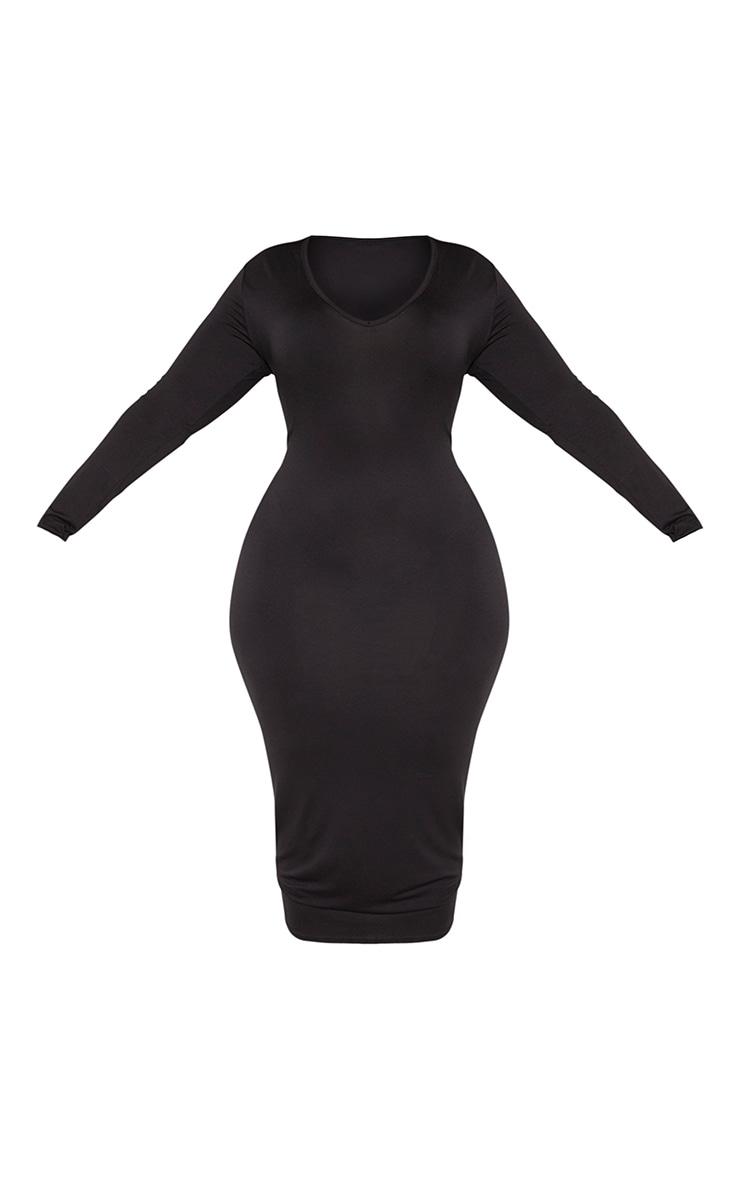 Plus Black Jersey V Neck Long Sleeve Midi Dress  3