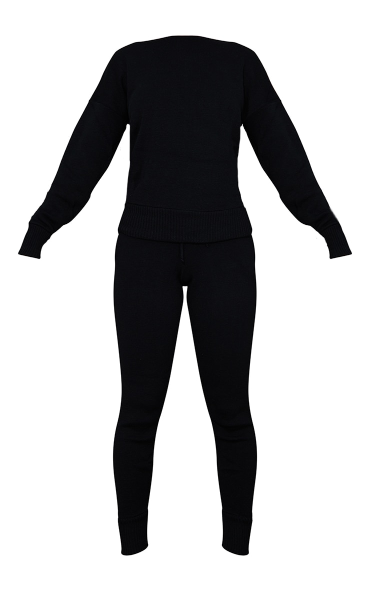 Auriel Black Jogger Jumper Knitted Lounge Set 5
