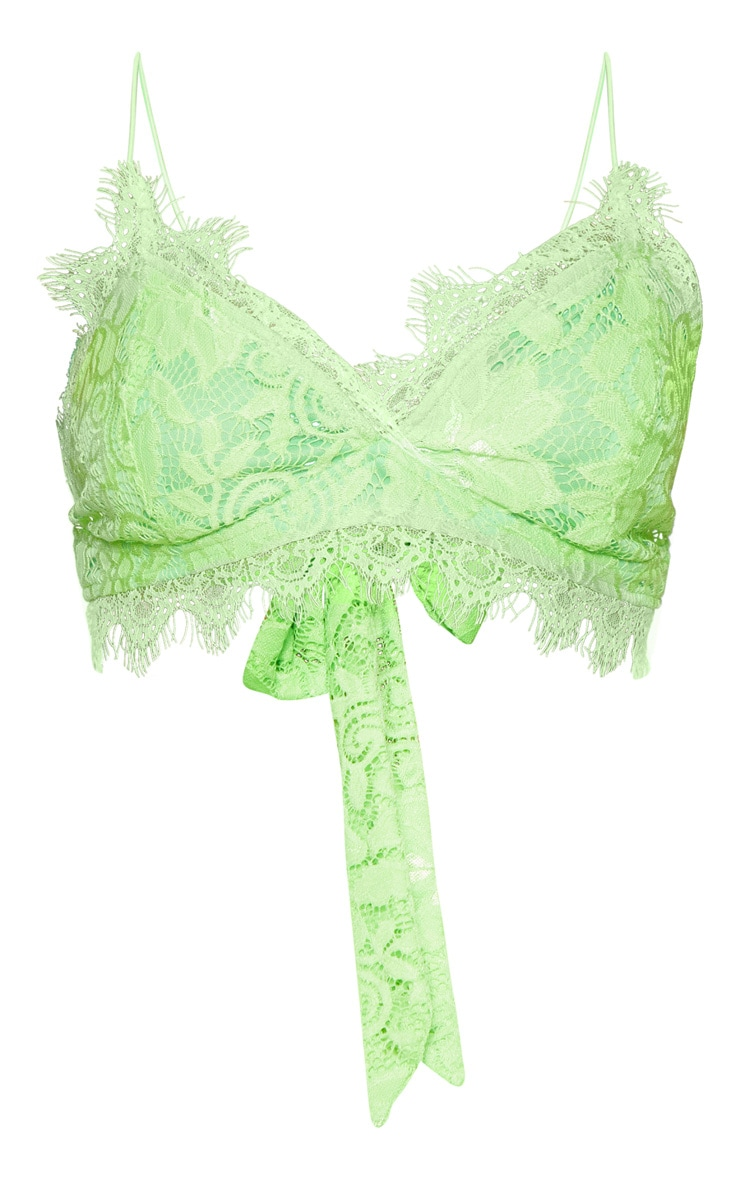 Neon Lime Tie Back Lace Bralet 3