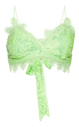 9f421f4643 Neon Lime Tie Back Lace Bralet image 3