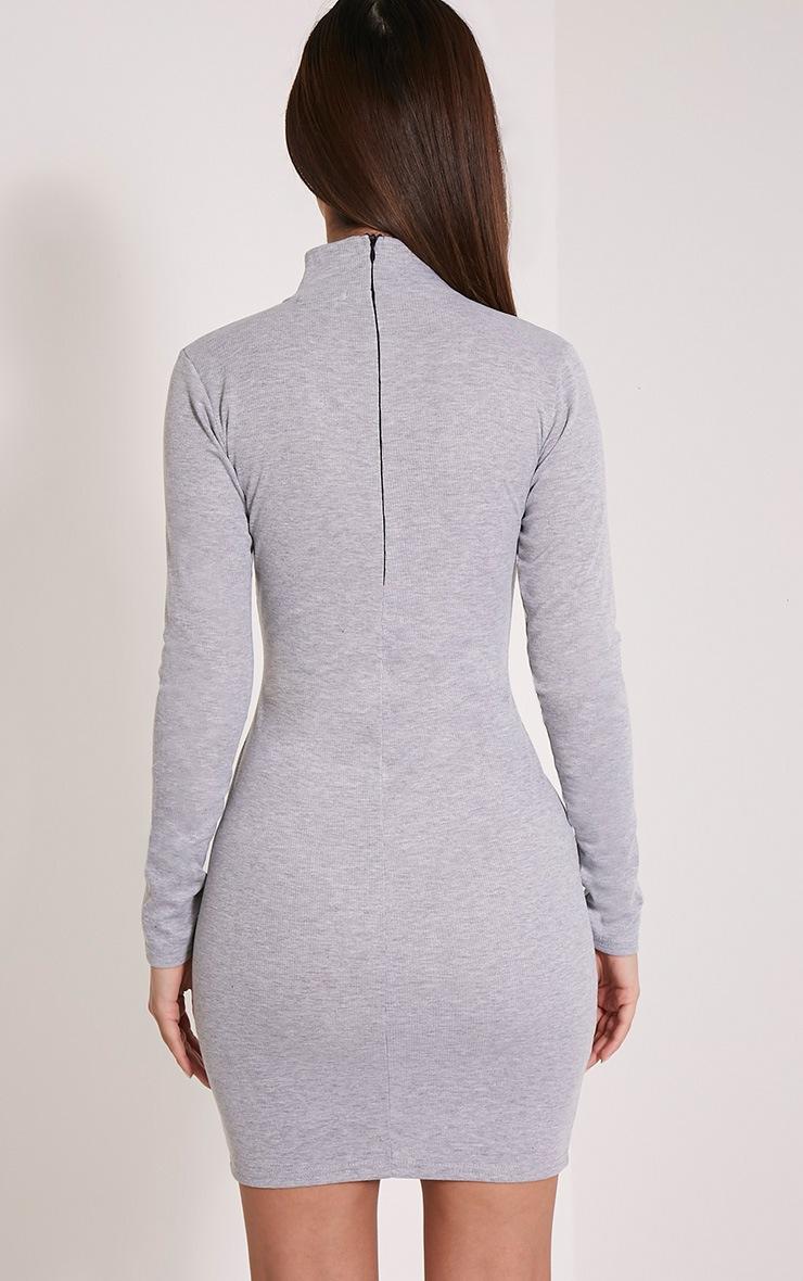 Marlene Grey Plain Zip Ribbed Bodycon Dress 2