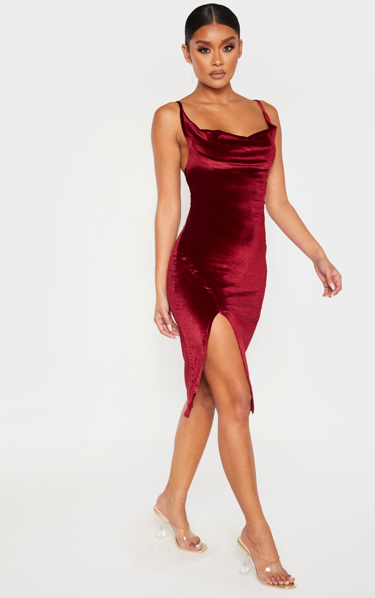 Burgundy Velvet Strappy Cowl Neck Split Detail Midi Dress 4