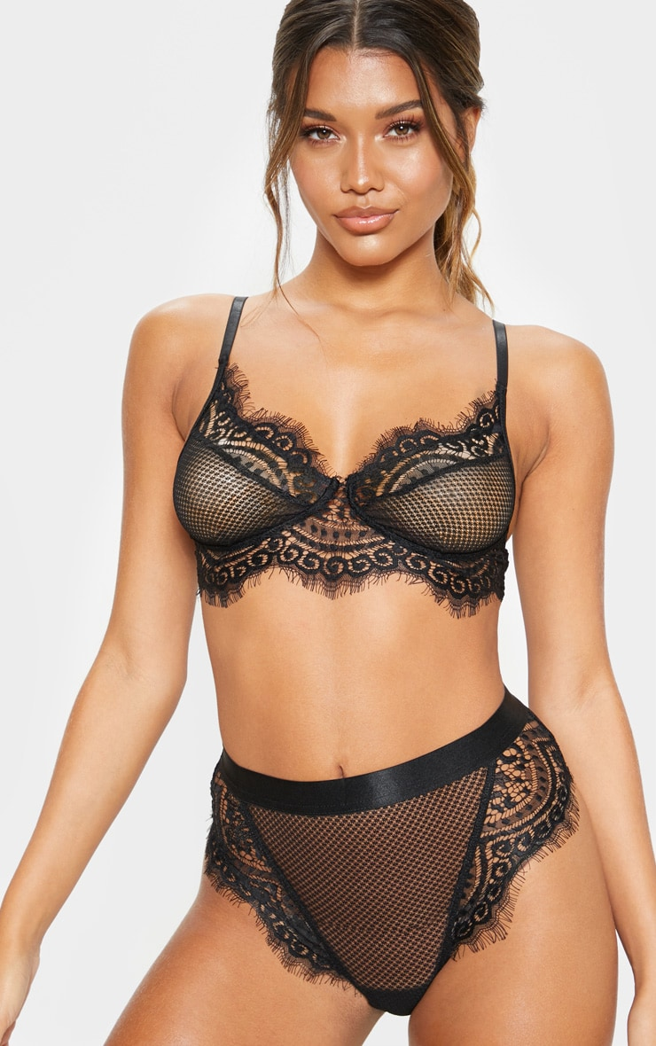 Black Lace And Fishnet Bra 1