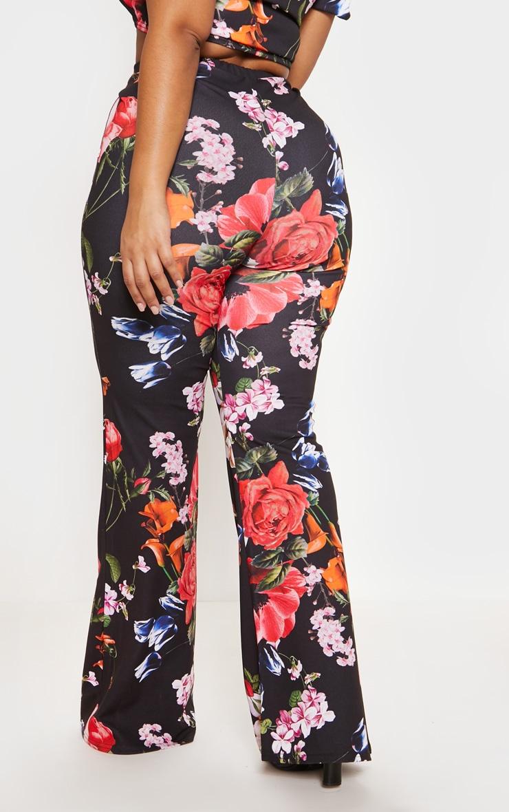 Black Floral Print Flare Leg Pants 5