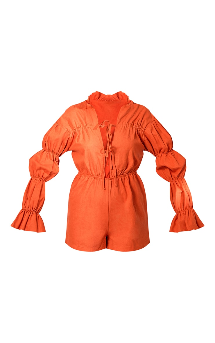 Rust Linen Look Lace Up Tiered Sleeve Romper 5