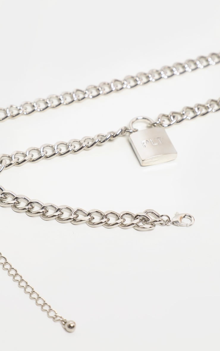 PRETTYLITTLETHING Silver Padlock Chunky Chain Layering Necklace 4
