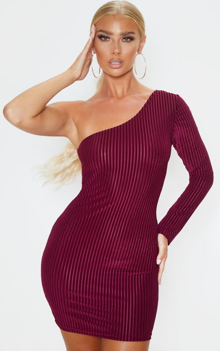 Burgundy Velvet Rib One Shoulder Bodycon Dress 1