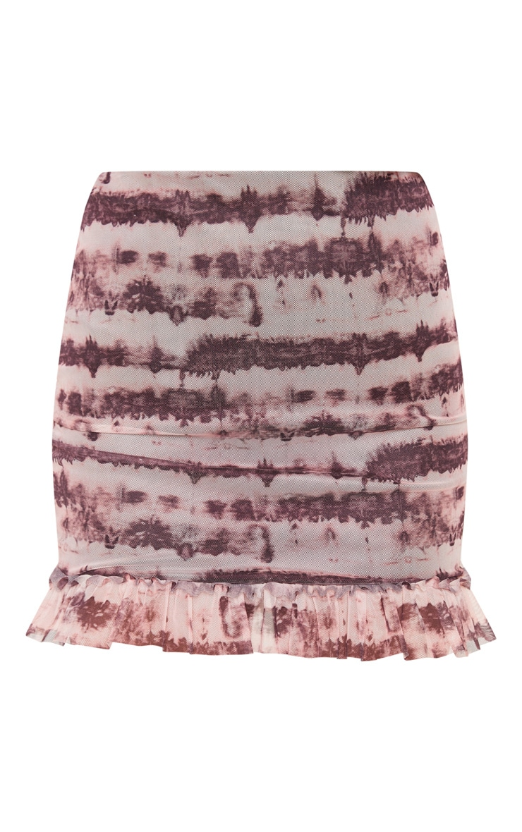 Maroon Mesh Tie Dye Frill Hem Mini Skirt  3