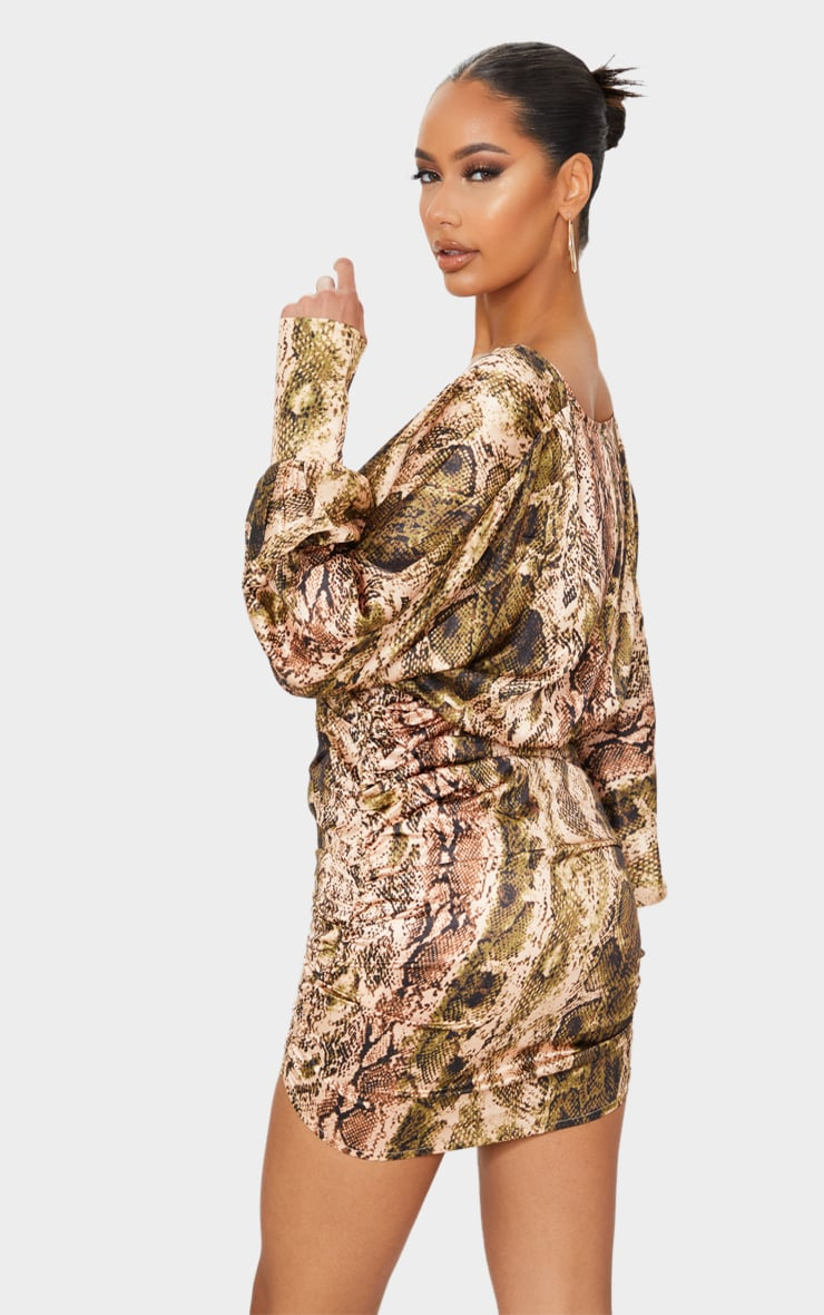 Brown Snake Print Satin Plunge Long Sleeve Ruched Bodycon Dress 2