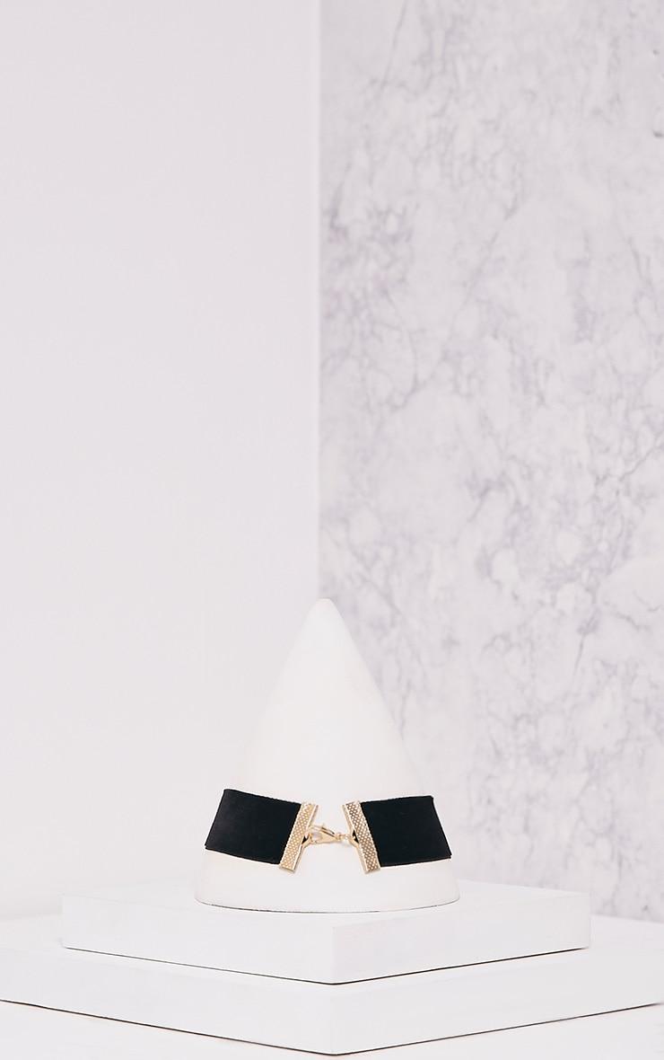 Odra Black Velvet Embellished Choker 4