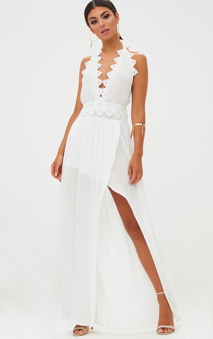 White Cheesecloth Crochet Trim Maxi Dress 1