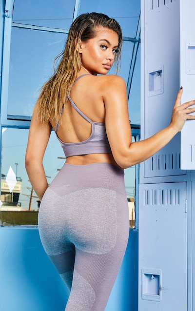 Mauve Seamless Long Line Sports Bra Top
