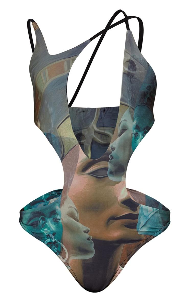 Grey Strappy Statue Print Bodysuit 4