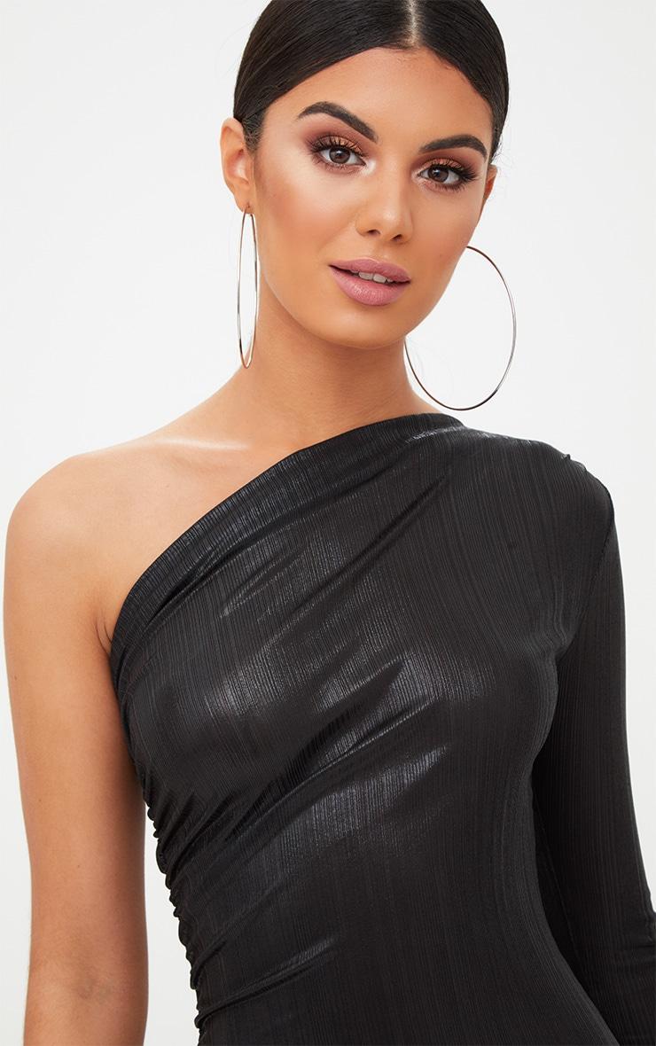 Black Foil One Shoulder Ruched Bodycon Dress 5