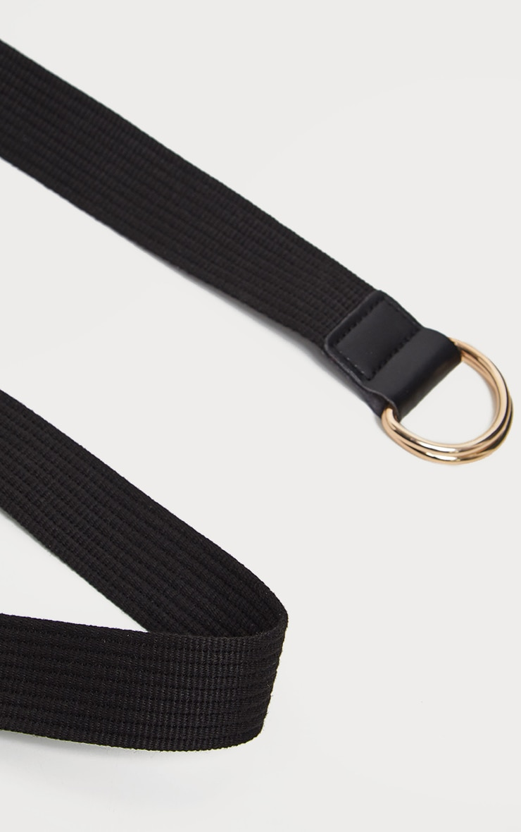 Black Ribbed Webbing Belt 3