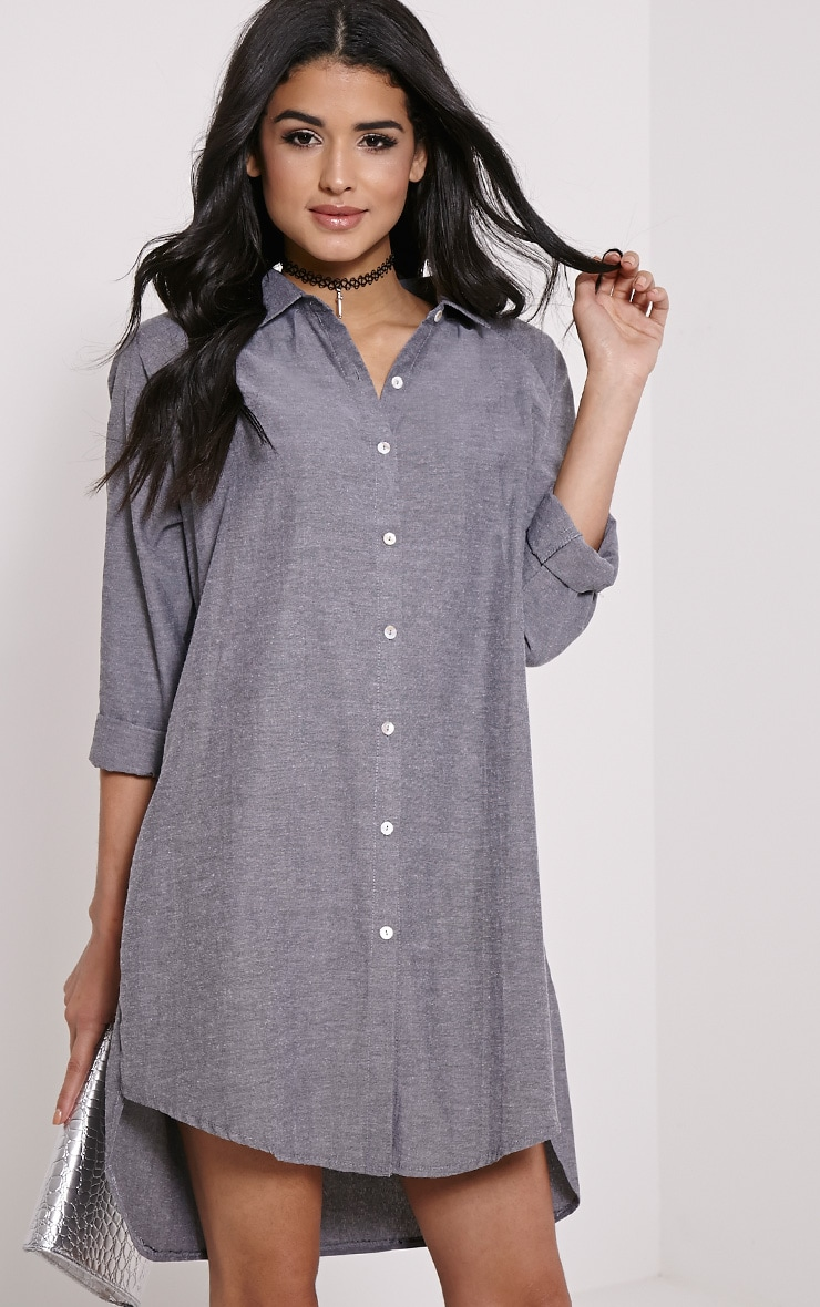 Carina Grey Oversized Denim Shirt Dress 1