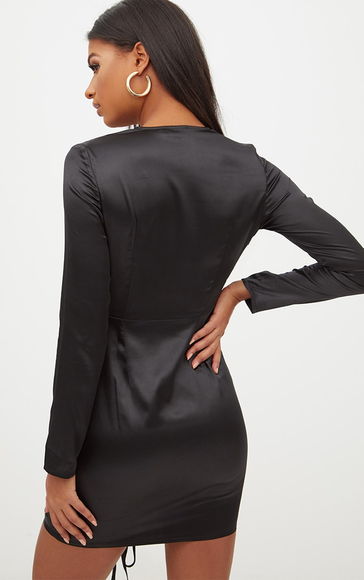 Black Satin Plunge Ruched Front Bodycon Dress 2