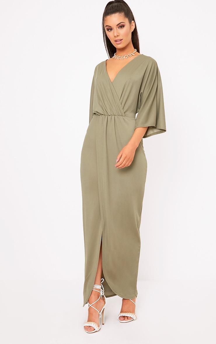 Archer Khaki Cape Maxi Dress 4