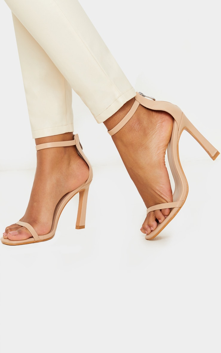 Nude Curved Heel Strappy Sandal 2