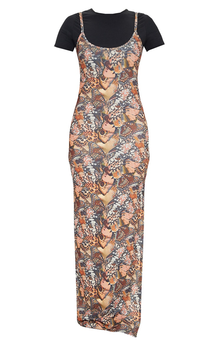 Nude 2 in 1 Butterfly Print Strappy Maxi Dress 5