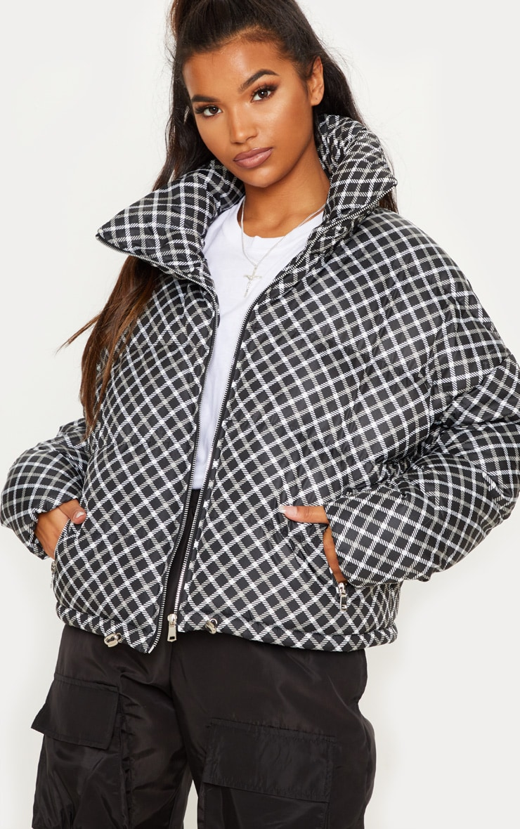 Black Checked Puffer  1