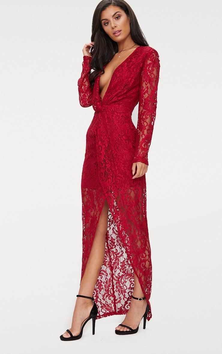 Burgundy Lace Long Sleeve Wrap Detail Plunge Maxi Dress