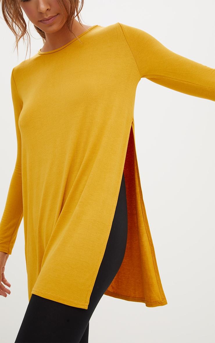 Basic top fendu sur le côté à manches longues moutarde 5