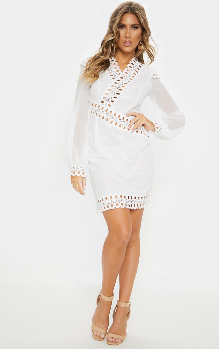 White Broderie Anglaise Long Sleeve Lace Trim Shift Dress 4