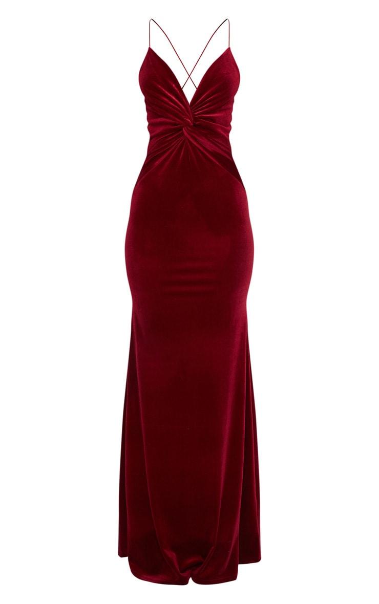 Wine Velvet Knot Front Maxi Dress 3