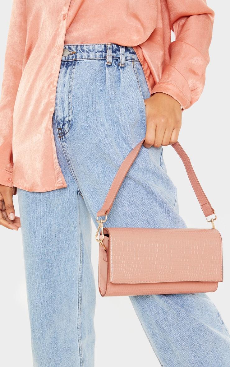 Pink Croc Large Rectangle Clutch Bag 1