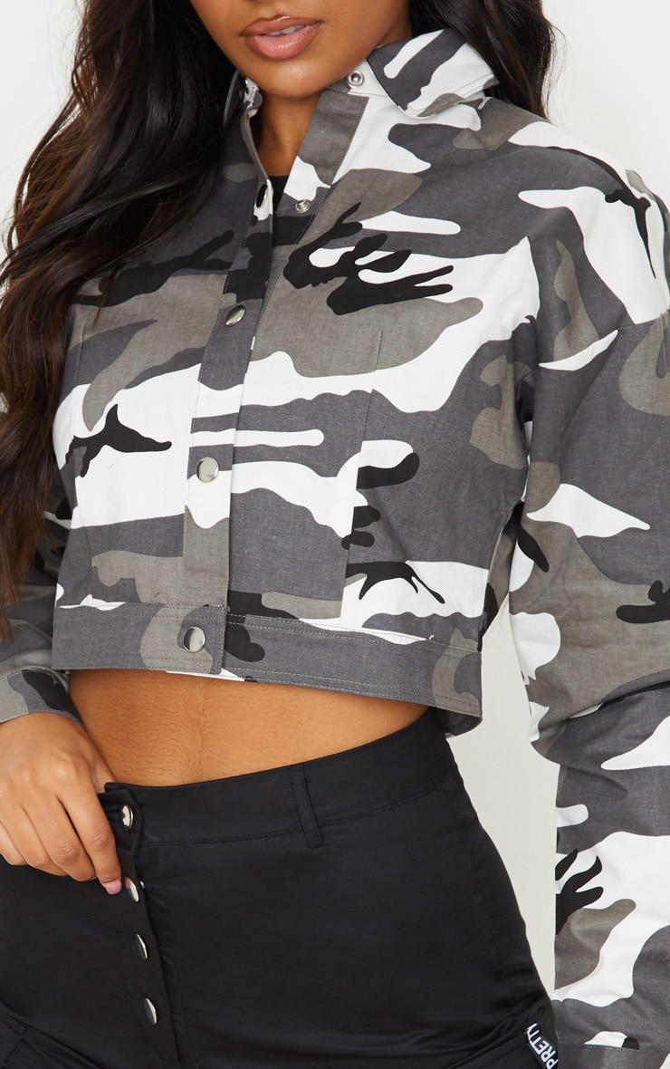 Grey Cropped Camo Trucker Jacket 5