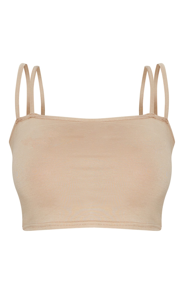 Basic Nude Jersey Double Strap Crop Top 3