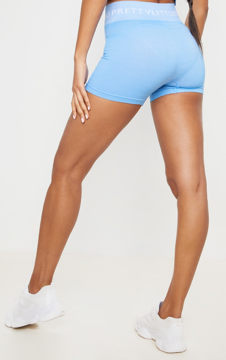 PRETTYLITTLETHING Blue Seamless Booty Shorts 3